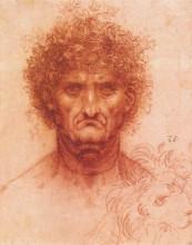 """Копия картины """"old man with ivy wreath and lion's head"""" художника """"да винчи леонардо"""""""