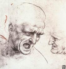 "Репродукция картины ""Studies for the heads of two soldiers in 'The Battle of Anghiari'"" художника ""да Винчи Леонардо"""