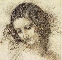 """Картина """"study for the head of leda"""" художника """"да винчи леонардо"""""""