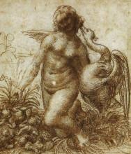 "Копия картины ""Study for the Kneeling Leda"" художника ""да Винчи Леонардо"""