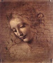 """Картина """"head of a young woman with tousled hair (leda)"""" художника """"да винчи леонардо"""""""