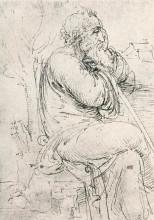 """Копия картины """"seated old man"""" художника """"да винчи леонардо"""""""