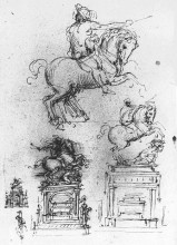 "Копия картины ""Study for the Trivulzio Equestrian Monument"" художника ""да Винчи Леонардо"""
