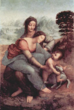 """Картина """"Святая Анна с Мадонной и младенцем Христом"""" художника """"да Винчи Леонардо"""""""