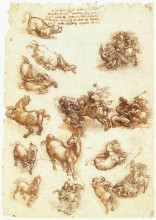 "Копия картины ""study sheet with horses"" художника ""да винчи леонардо"""