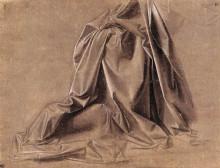 "Репродукция картины ""drapery for a seated figure"" художника ""да винчи леонардо"""