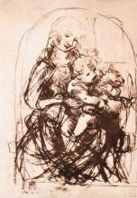"Картина ""study of the madonna and child with a cat"" художника ""да винчи леонардо"""