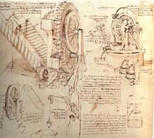 """Копия картины """"drawings of water lifting devices"""" художника """"да винчи леонардо"""""""