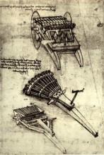 """Репродукция картины """"Multi Barrel Gun"""" художника """"да Винчи Леонардо"""""""