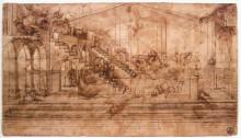 "Репродукция картины ""perspectival study of the adoration of the magi"" художника ""да винчи леонардо"""