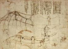 "Репродукция картины ""Design for a Flying Machine"" художника ""да Винчи Леонардо"""