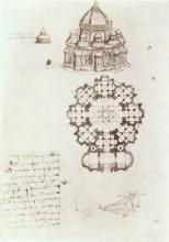 """Картина """"study of a central church"""" художника """"да винчи леонардо"""""""