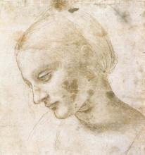 """Копия картины """"study of a woman's head"""" художника """"да винчи леонардо"""""""