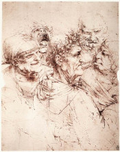 """Копия картины """"study of five grotesque heads"""" художника """"да винчи леонардо"""""""