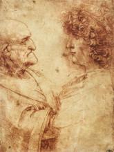"""Картина """"Heads of an old man and a youth"""" художника """"да Винчи Леонардо"""""""