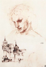 "Репродукция картины ""Study of an apostle's head and architectural study"" художника ""да Винчи Леонардо"""