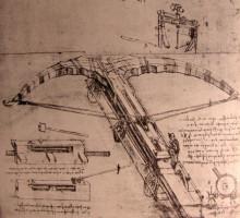 """Репродукция картины """"design for an enormous crossbow"""" художника """"да винчи леонардо"""""""