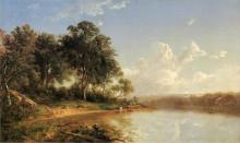 """Репродукция картины """"afternoon along the banks of a river"""" художника """"джонсон дэвид"""""""