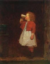 "Репродукция картины ""Little Girl with Red Jacket Drinking from Mug"" художника ""Джонсон Истмен"""