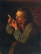 """Картина """"Lighting His Pipe"""" художника """"Джонсон Истмен"""""""