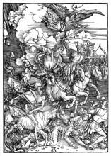 """Репродукция картины """"Четыре всадника Апокалипсиса, смерть, голод, мор и война"""" художника """"Дюрер Альбрехт"""""""