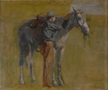 """Репродукция картины """"Sketch for Cowboys in the Badlands"""" художника """"Икинс Томас"""""""