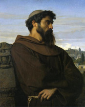 "Картина ""a thinker, a young roman monk"" художника ""кабанель александр"""
