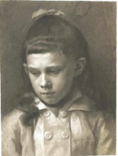 "Репродукция картины ""portrait of a girl, head slightly turned left"" художника ""климт густав"""