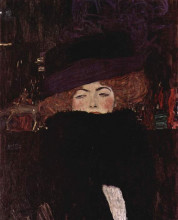 "Копия картины ""lady with hat and featherboa"" художника ""климт густав"""