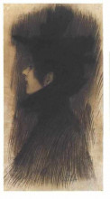 "Репродукция картины ""girl with hat and cape in profil"" художника ""климт густав"""