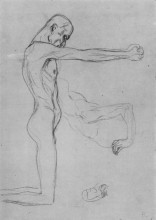 "Копия картины ""kneeling male nude with sprawled out arms, male torso"" художника ""климт густав"""