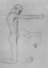 """Репродукция картины """"Kneeling Male Nude With Sprawled Out Arms, Male Torso"""" художника """"Климт Густав"""""""