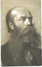 "Картина ""portrait of a man with beard in three quarter profil"" художника ""климт густав"""