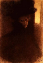 "Репродукция картины ""Lady with Cape and Hat"" художника ""Климт Густав"""