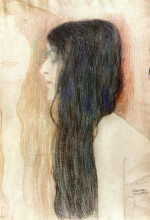"Репродукция картины ""girl with long hair, with a sketch for 'nude veritas'"" художника ""климт густав"""