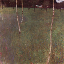 "Копия картины ""Farmhouses with Birch Trees"" художника ""Климт Густав"""