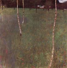 """Репродукция картины """"farmhouses with birch trees"""" художника """"климт густав"""""""