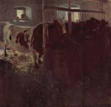 """Картина """"Cows in the barn"""" художника """"Климт Густав"""""""