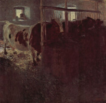 "Копия картины ""Cows in the barn"" художника ""Климт Густав"""