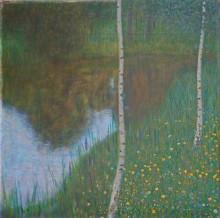 "Репродукция картины ""Lakeside with Birch Trees"" художника ""Климт Густав"""