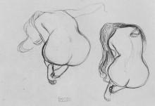 """Репродукция картины """"two studies of sitting nudes"""" художника """"климт густав"""""""