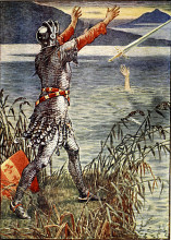 "Репродукция картины ""King Arthur Sir Bedivere throwing Excalibur into the lake"" художника ""Крейн Уолтер"""