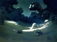 "Картина ""Пятна лунного света в лесу. Зима"" художника ""Куинджи Архип"""