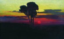 """Копия картины """"закат с деревьями"""" художника """"куинджи архип"""""""