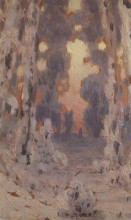 """Репродукция картины """"солнечные пятна на инее. закат в лесу"""" художника """"куинджи архип"""""""