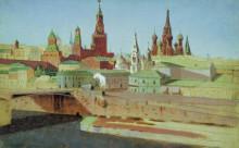 """Копия картины """"вид на москворецкий мост, кремль и храм василия блаженного"""" художника """"куинджи архип"""""""