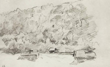 """Репродукция картины """"ветхие избушки у подножия лесистой горы"""" художника """"левитан исаак"""""""