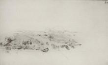 """Картина """"высокий берег реки с лодкой и намеченным мостиком"""" художника """"левитан исаак"""""""