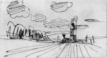 """Репродукция картины """"Платформа. Приближающийся поезд."""" художника """"Левитан Исаак"""""""