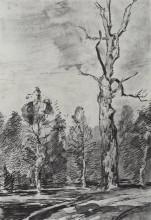 """Копия картины """"сухое дерево у дороги"""" художника """"левитан исаак"""""""